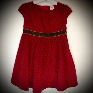 Baby Gap Maroon/Brown Polkadot Corduroy Dress